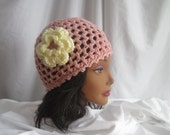 Hat Womans Pink Crochet Hat with Flower Applique Embellishment Stylish, Chic, Trendy and Lacy Cap Handmade Fashion Accessory