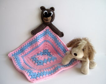 Crochet Granny Square Baby Security Blanket - Teddy Bear with Baby Blue and Baby Pink Square