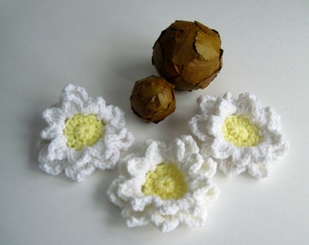 3 Soft Pale Yellow and White Pedal Flower Appliques - Set of 3 - Large