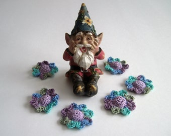 6 Thread Crochet Flowers - Cone Centers with Petals - Purple with Shades of Green, Blue, Turquoise & Purple