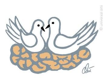 "Jacqueline Ditt - ""Doves"" original graphic Art Print Edition handsigned"