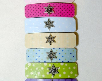 Set of 7 Barrettes - Spotted