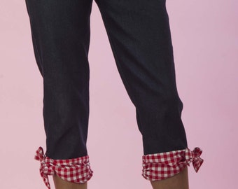 High Waisted Capri Pants Red/White Gingham Bow  Retro / Rockabilly / Vintage 50s Pinup Clothing