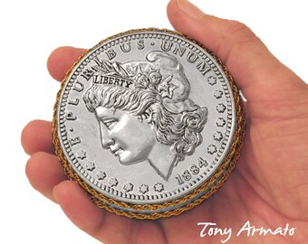 """1884 Morgan Silver Dollar, A Whimsical, BIG 3"""" COIN, Trinket & Stash Box. A Classic Limited Edition, Gift For Coin Collectors. Signed."""