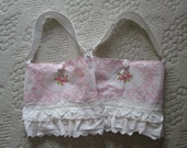 Pink rose fabric purse lace purse one vintage shabby style purse ruffled fabric purse Spring Easter purse romantic pink purse