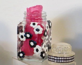Black and white flower storage jar polymer clay enhanced