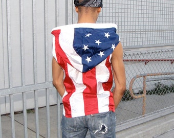 American Flag Clothing - Mens Hoodie - mens shirt - custom hoodie - mens clothing - mens jacket - windbreaker - upcycled - handmade clothing