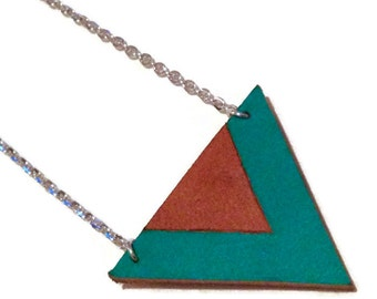 Turquoise and Tan leather color blocked triangle necklace, geometric necklace, leather triangle necklace