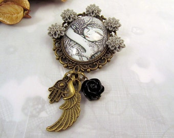 Fallen Angel Fantasy Gothic Mori girl Fairytale Once Upon a Time Brooch