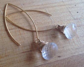 Crystal Quartz Earrings - Crystal Jewelry - Gold Jewelry - Vermeil Jewellery - Gemstone - Teardrop - Briolette - Wedding