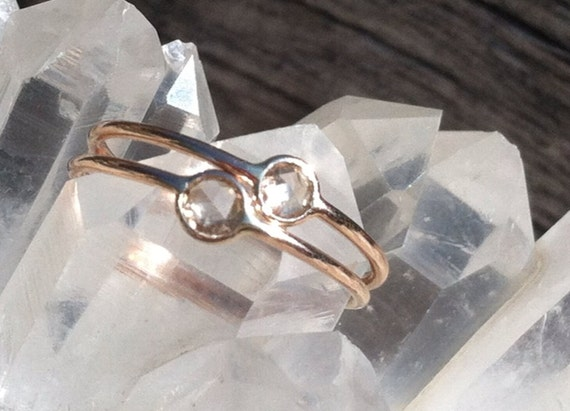 White or champagne diamond and solid 18k gold ring
