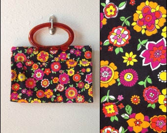 So Snappy // 60s 70s Convertible Handbag NOS Black Floral