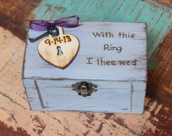Ring Bearer Box Rustic Wedding Shabby Chic Personalized Wood Heart and Key (Your Color Paint and Ribbon Choice)