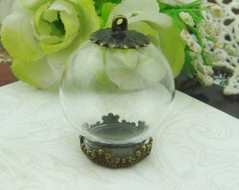 5sets 15mm Medium Clear Glass Globe Bottle with Antique Bronze Brass Crown Cover and Cap (GB152502)