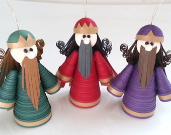 Wise Men Christmas Ornaments Set Paper Quilled in Crimson, Purple and Green Nativity Decorations