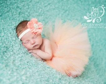 Newborn tutu peach matching fabric flower headband pearl center great photo prop 0-3 months ready to ship