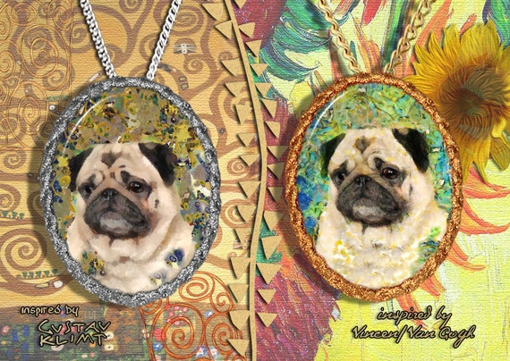 Pug Jewelry Pendant - Brooch Handcrafted Porcelain by Nobility Dogs - Gustav Klimt and Van Gogh