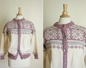 vintage wool norwegian ski sweater// pink cardigan// medium