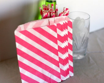 Pink diagonal stripe bags, Pink candy bags for weddings, Pink treat bags, Sweet shop, pink popcorn  bags,pink cookie bags, bitty bags