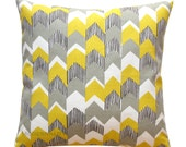 CLEARANCE Chevron Toss Pillow- Richloom Nino Chevron Lemongrass Pillow Cover- 14x14- Zipper Closure- Yellow Cushion Cover- Home Accent
