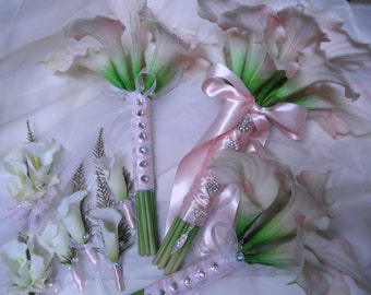 10 piece set: Pink Calla Lily Bridal Bouquet, Maid of Honor, Groom and Best Man's Boutonniere.White Ivory Green REAL TOUCH CALA Lilies