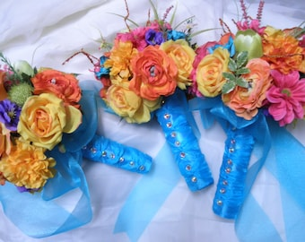 21 pc. set Beach Tropical Wedding Flowers (1) Bridal Bouquet (3) Maid (6) corsage (10) bout. Purple Turquoise Coral Pink Orange Yellow