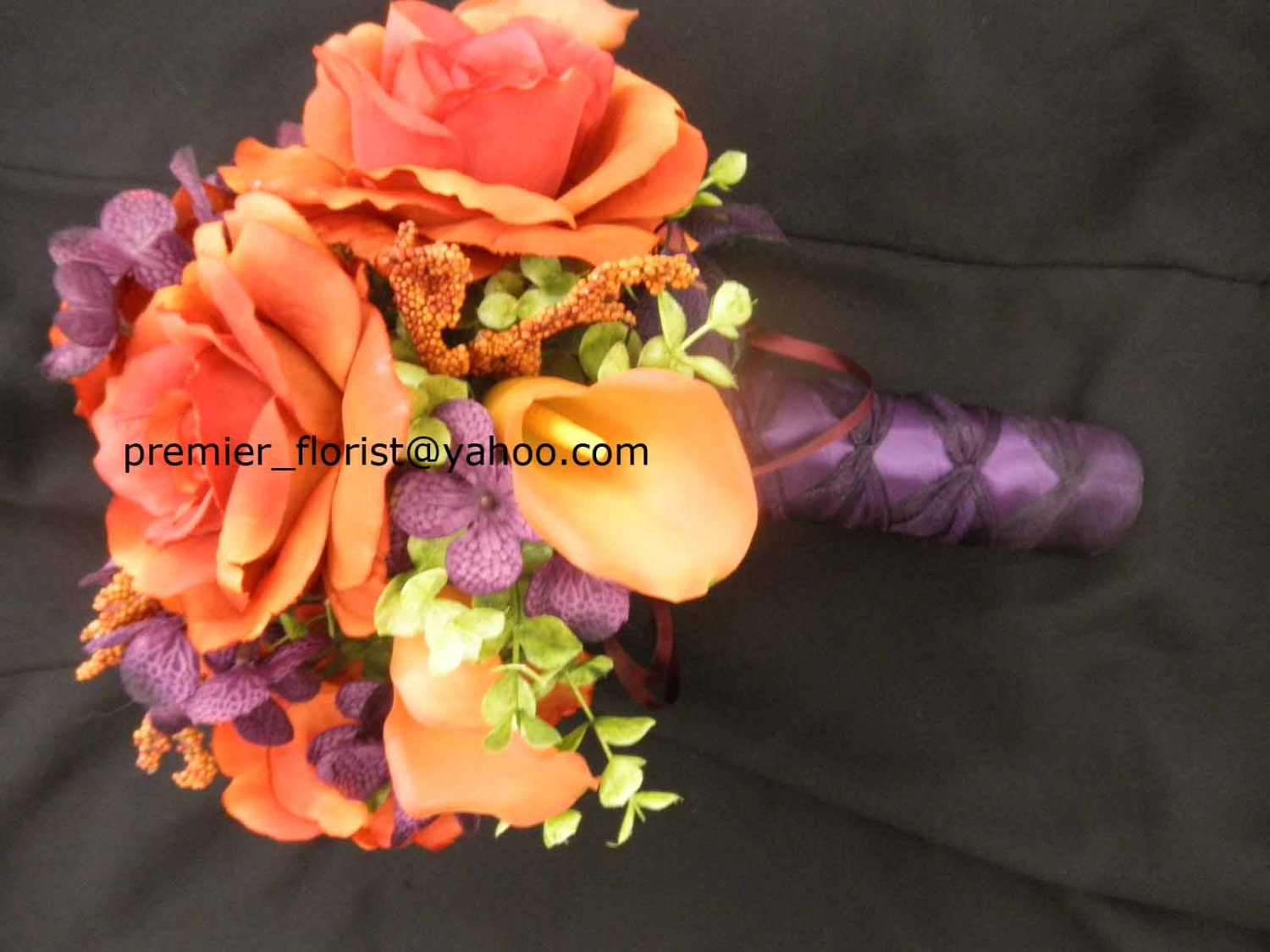 Orange Purple Green Rustic Wedding Bouquet Bridal