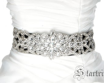SALE JILL crystal wedding bridal sash belt