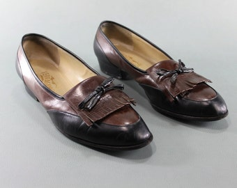 10 SALVATORE FERRAGAMO Vintage Ladies Women's Shoes Pumps Heels Tassel Penny Loafers Oxfords Designer Two Tone Black Brown Italian Leather