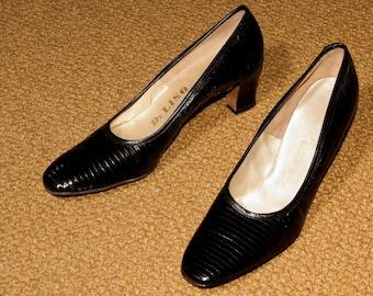 60s black pumps - reptile - DeLiso brand