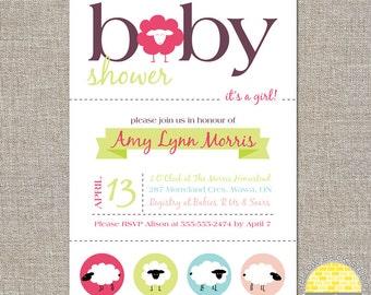 Sheep Baby Shower  Invitation - diy printable file by YellowBrickStudio