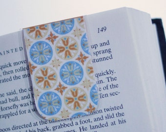 Orange and Blue Mandala, Magnetic Bookmark, Page Marker, Mandala Bookmark, Indian Inspired, Glitter Bookmark, Ready to Ship