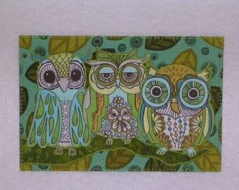 OWLS - Whimsical - Fabric Postcard Art Quilt Fabric Appliqued  4 x 6 art quilt