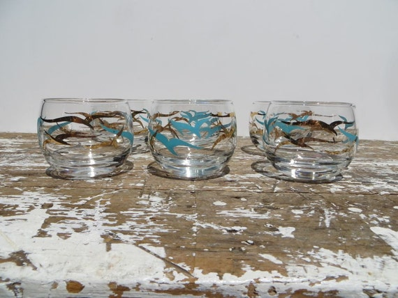 Roly Poly Cocktail Glasses with Seagulls 6 Turquoise and Gold Federal Glass Company Atomic Glasses