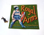 Royal Arms Fruit Crate label, Roman Warrior on green background