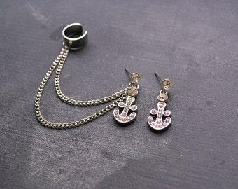 Silver Crystal Anchor Ear Cuff Earrings (Pair)