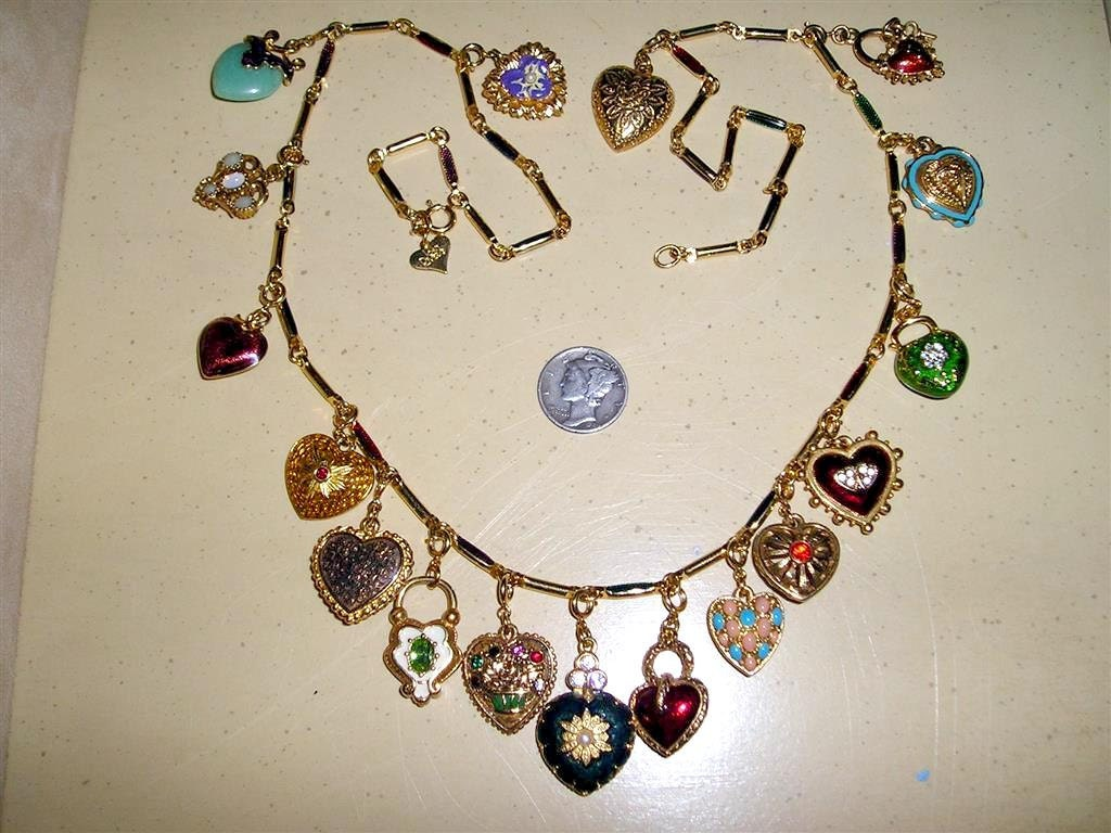 Joan rivers heart charm necklace vintage rhinestones enamel for Joan rivers jewelry necklaces