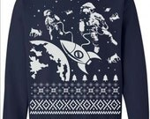Astronauts in Outer Space Ugly Christmas Sweater Flex Fleece Pullover Classic Sweatshirt - S M L Xl and Xxl (3 Color Options)