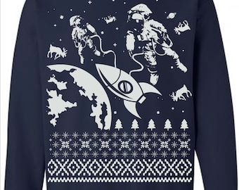 Sale Astronauts Outer Space Planet Science Galaxy Geek Nerdy Tacky Ugly Christmas Sweater Pullover Mens Dad Womens Guys Sweatshirt Gift - L