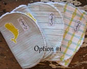 Burp Cloths - Whales, Wood planks, Rope knots, Wave Chevron - Maritime Modern - Set of 3 - Grey, Citron, Aqua - 2 Sets to Choose from
