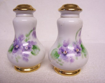 Violets Salt Pepper Shakers  Hand Painted Violet Floral Design Porcelain Antique Gold Gilt Lovely Shower or Wedding Gift