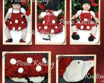 EXCLUSIVE RED or PINK Crochet Baby Disney Minnie Mouse Outfit: Hat, Top, Diaper Cover with tu-tu Skirt, Shoes Photo Prop