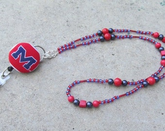 Ole Miss ID Badge Beaded Lanyard Red and Blue ID Badge Lanyard
