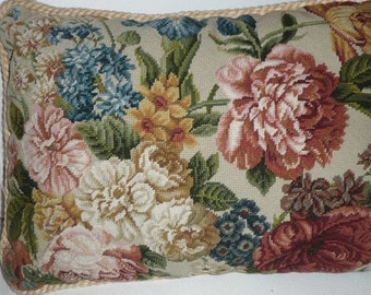 There are 4 of this cream ground Flemish Florals, backed in cream cotton Damask. Each sold separately