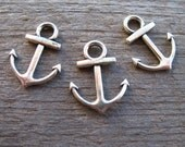 10 Silver Anchor Charms 19mm