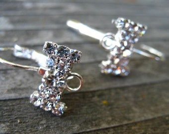 2 Pairs Silver Rhinestonw Leverback Earrings with Crystal Bow Setting and Loop 22mm