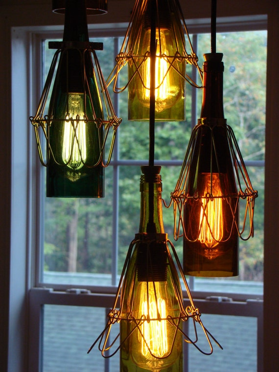 Items similar to wine bottle chandelier on etsy for How to make your own wine bottle chandelier