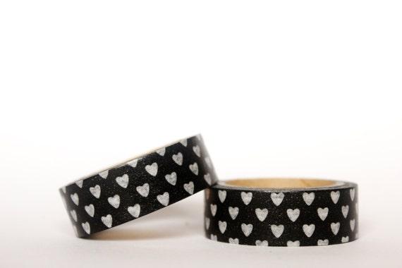 MINI 5m White Hearts on Black Washi Tape