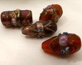 Lampwork Vintage Lamp Work Wedding Cake Glass Beads Red-Brown 20mm 4 Beads