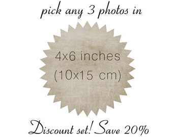 Pick any 3 photos in 4x6 - Discount set sale - save 20% - wall art - gift set